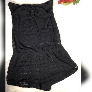 Victoria's Secret | Black lace halter romper szS/P